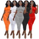 Summer, candy color, high elastic, fold, bra, skirt, suit