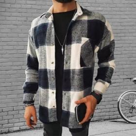 Color matching, plaid, printing, shirt, cardigan, lapel, long sleeve, plaid, shirt