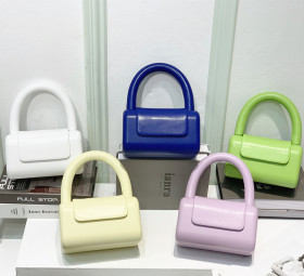 Pu candy color, square box bag, hand-held women's bag