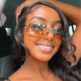 Square, frameless, sunglasses, little fresh