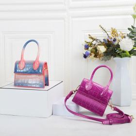 Gradient color, crocodile pattern, Messenger Bag, mini hand bag,