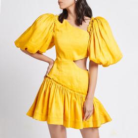 Pleated, slanted shoulder, bubble sleeve, high waist, skirt, dress
