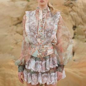 Stand collar, lantern sleeve, printed shirt + lace, stitching, cake, skirt, skirt suit