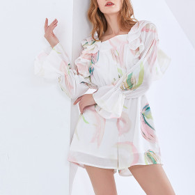 Chiffon, flowers, printing and dyeing, high waist, leisure, square collar, waist, ruffle, trumpet sleeve, jumpsuit