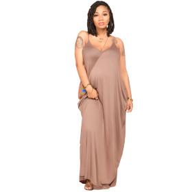 Solid color, loose, sling, dress, skirt, with pocket
