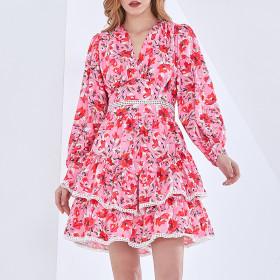 Floral skirt, V-neck, temperament, high waist, cake, dress