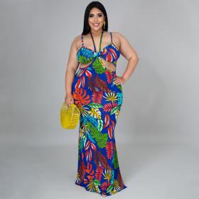 Suspender, open back, print, loose, large dress