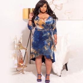 Tie dye printing, lace, swing skirt, belt, oversized dress