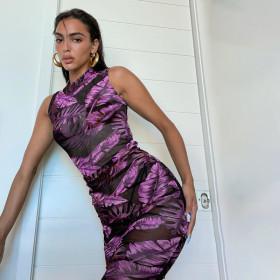 Banana leaf print, vest, dress, high collar, hip skirt