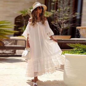 Medium sleeve, loose, solid dress
