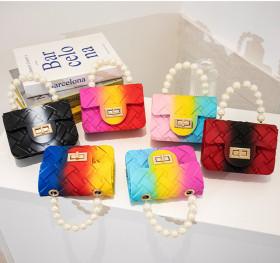 Woven, mini, jelly bag, one shoulder, pearl chain, lipstick bag, children's handbag