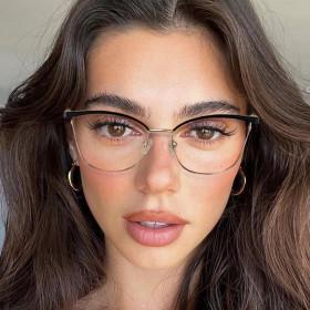 Metal, flat lens, blue light proof, glasses