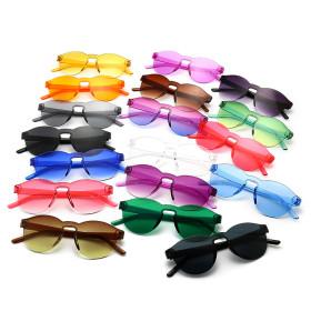 No frame, candy color, sunglasses, jelly, transparent sunglasses