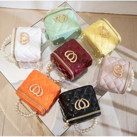 Peach heart, handbag, PVC, pearl box, jelly bag, mini, cosmetic bag