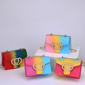 Single shoulder, Crossbody, chain, small square bag, peach heart, dazzle color, mini, jelly bag