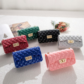 Jelly bag, Lingge, single shoulder, Messenger Bag, mini, chain, PVC small square bag