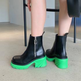 Thick bottom, Martin boots, side zipper, round head, thick heel, short boots