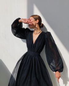 Lady, bubble sleeve, wave point, dress