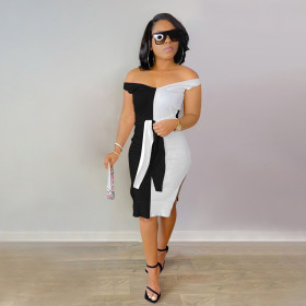 Pit strip, color matching, dress, bandage, deep V, shoulder leakage