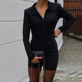 Long sleeve, lapel, single breasted, cardigan and skirt