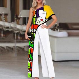 Print, slant shoulder, fashion, jumpsuit, wide leg pants