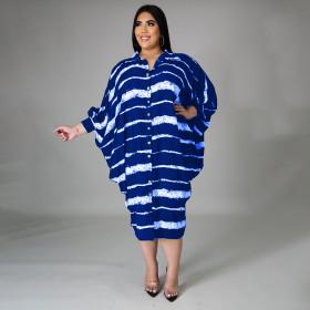 Stripe Print, long sleeve, button, irregular, dress