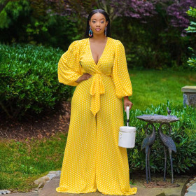 Large, fluffy, spotted, waist tied, Jumpsuit