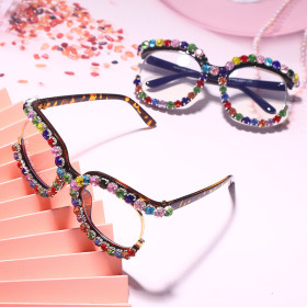 Color diamond, sunglasses, large frame, round, flat sunglasses, sunglasses
