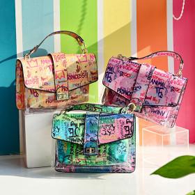 Snake pattern, handbag, PVC, transparent, Messenger Bag