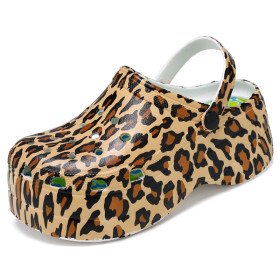 Wedge heels, thick soles, hole shoes, high heels, leopard and snake patterns