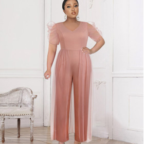 V-neck, stitching, perspective, mesh, high waist, wide leg pants