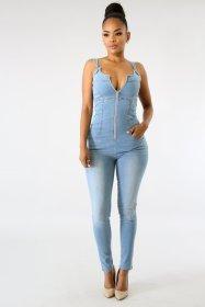 Denim, slim fit, neck hanging, zipper, jumpsuit, jeans