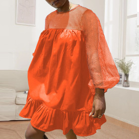 Round neck, stitching, hollowed out, grid, loose, ruffle, dress