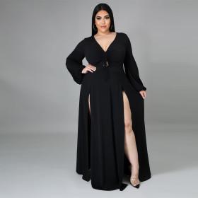 V-neck, solid, split, dress