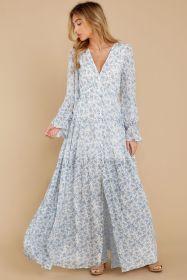 Printed, button, ruffle, long sleeve, dress, button, cardigan, long skirt