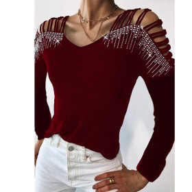 V-neck, off shoulder, bandage, bright diamond, long sleeve, T-shirt