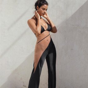 Mesh, splicing, neck hanging, open back, hollow out, straight tube, one-piece pants