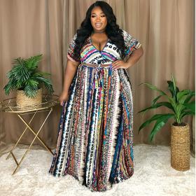 Printed skirt, two piece set, bandage, V-neck skirt, set