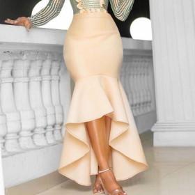 High waist, Hip Wrap, asymmetric, skirt hem, solid color, elastic, skirt
