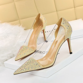 High heel, shallow mouth, pointed end, hollow out, transparent, splicing, pointed end, Rhinestone, single shoe