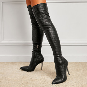 Elastic, over knee, boots, high heels, pointed boots