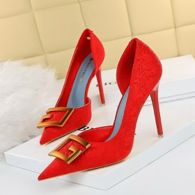 Thin heel, high heel, shallow mouth, pointed end, side hollowed out, single shoe, high-heeled shoes