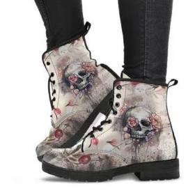 British Pu, large, skull pattern, Martin boots