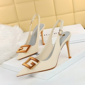 Thin heel, super high heel, shallow mouth, pointed end, hollow out, metal buckle, single shoe