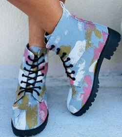 Graffiti, Martin boots, large women's boots, short Martin boots