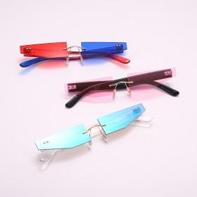 Frameless, metal, trapezoid, sunglasses, sunglasses