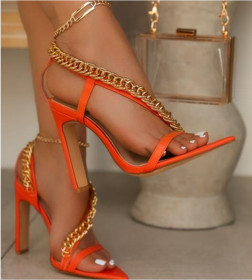 Metal chain, pointed end, thick heel, high heel, covered sandals