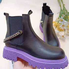 Martin boots, short boots, PU leather boots, chain, decoration