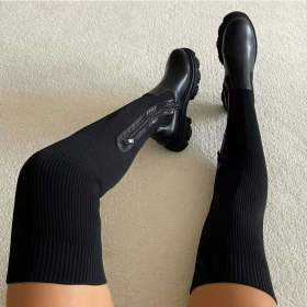Round head, splicing, knee boots, large, elastic, leather boots