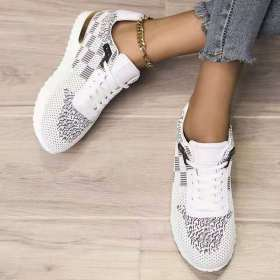 Fly weave, lace up, flat sole, single shoe
